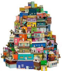 Ana Serrano cardboard architecture. This reminds me of a quilting book...Happy Villages, maybe?