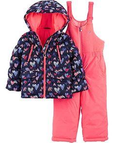 Osh Kosh BGosh Little Girls Navy & Pink Heart Print Two-Piece Snowsuit Snow Suit, Navy Pink, Heart Print, Hooded Jacket, Little Girls, Baby Kids, How To Look Better, Rain Jacket, Clothes