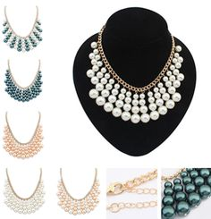 2014 New  Multilayer Pearl Gem Statement Necklace, Resin Bubble Bib Choker Statement Necklace,Party Gift Wedding Necklace