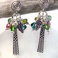 Crystal Cluster Celtic Earrings, Leaf Charms, Green Swarovski, Spirals | PrettyGonzo - Jewelry on ArtFire