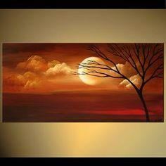 Modern landscape painting by the artist Osnat Tzadok. Choose from thousands of modern, contemporary and abstract paintings in this online art gallery. Artwork: 'Draw me Closer', dimensions:Buy beautiful landscape paintings, modern landscape paintings, can Beautiful Landscape Paintings, Canvas Painting Landscape, Moon Painting, Modern Paintings, Modern Artwork, Abstract Paintings, Abstract Landscape, Art Paintings, Contemporary Abstract Art
