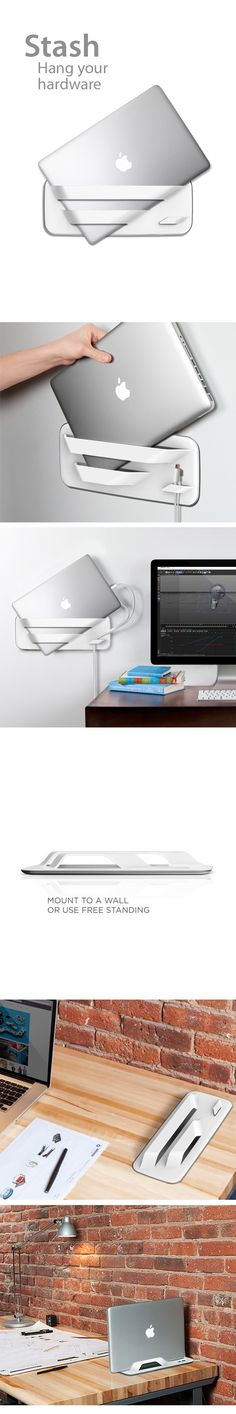 Stash: Hang your hardware. Stylish MacBook Pro Wall Mount. Images (without Apple logo) courtesy of Quirky.com - currently in production.