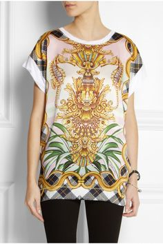 Just Cavalli | Printed satin and jersey T-shirt | NET-A-PORTER.COM