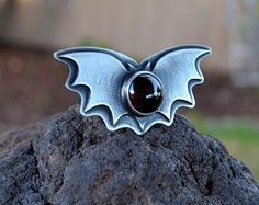 Bat Ring. Garnet Ring. Red Garnet. Bat Wings. Bat SIlhouette. Gothic Ring. Goth. Dark. Sterling Silver and stone.