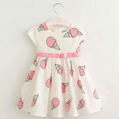 Cheap kids dresses for girls, Buy Quality dresses for girls directly from China kids dress Suppliers: Hurave Sweet Girls ice cream printed kids dress for girl 2017 cute girls spring new children princess clothes dress Baby Summer Dresses, Cute Girl Dresses, Little Girl Dresses, Dress Summer, Pink Summer, Dress Girl, Summer Baby, 2017 Summer, Girls Frock Design