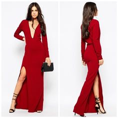 ✨SALE✨ 🎉HPx2 Dark Wine Maxi Dress🎉 NWT. Brand is Club L from ASOS. Color is a DARK WINE. Material is 95% polyester and 5% elastane. Tags say 8 BUT that's UK sizing, this dress IS a US 4. Deep plunge neckline. Side thigh split. Slim fit (cut closely to the body.) Lightweight woven fabric. Stock photo from ASOS. ❌NO TRADES❌ ASOS Dresses Maxi
