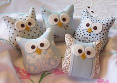 Owls...Five Little Blue and Brown Stuffed Owl Ornaments. $25.00 USD, via Etsy.