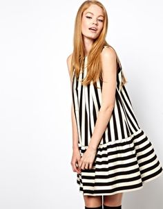 ASOS Swing Dress In Stripe With Extreme Trumpet Hem