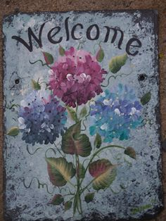 PERSONALIZED Hand Painted Slate Welcome Sign by ABeautifulGift