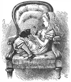 "Alice playing with kitten from Lewis Carroll's ""Through the Looking Glass."" Illustration by artist John Tenniel."