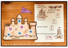 Place Value Activities: Simple seashell sandcastle craft to practice place value in an interesting & fun way. :-)