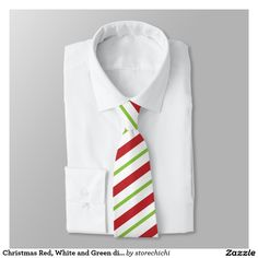 Christmas Red, White and Green diagonally Stripes