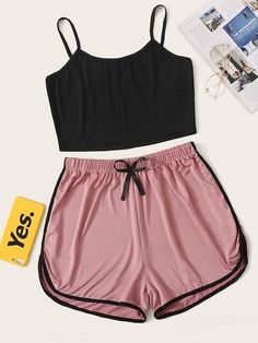 Cute Pajama Sets, Cute Pajamas, Pajamas Women, Cute Lazy Outfits, Casual Skirt Outfits, Cool Outfits, Cami Tops, Girls Fashion Clothes, Teen Fashion Outfits