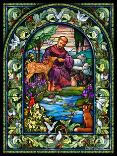 Stained glass depicting St Francis of Assisi Stained Glass Church, Stained Glass Art, Stained Glass Windows, Mosaic Glass, Francis Of Assisi, St Francis, Catholic Art, Religious Art, Wine Bottle Wall