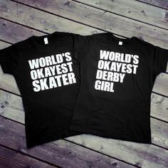 World's Okayest Skater/Derby by TheBiteMeBoutique on Etsy Roller Derby Clothes, Roller Derby Skates, Roller Skating, Derby Time, City Roller, Aerial Silks, Cool Outfits, People, T Shirts For Women