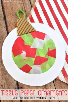 These tissue paper ornaments are a fun Christmas craft for kids! You can also use them to decorate your windows since they double as sun catchers! Christmas Activities For Toddlers, Winter Crafts For Toddlers, Christmas Crafts For Adults, Preschool Christmas, Adult Crafts, Crafts For Kids To Make, Toddler Crafts, Crafts For Teens, Kids Christmas