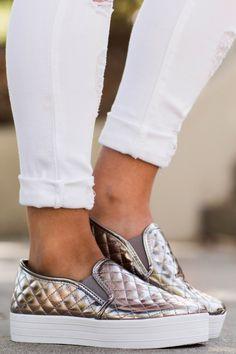 My Way Or The Highway Metallic Grey Slip On Sneakers at reddressboutique.com $22.00