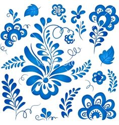 Blue floral elements in russian gzhel style vector by art_of_sun on VectorStock®