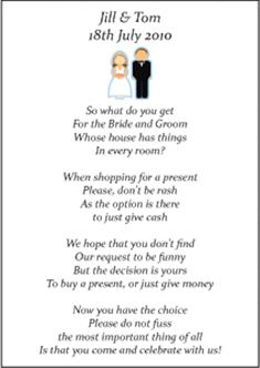 Money poems instead of a registry