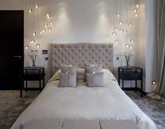 gray bedroom and cool lamps