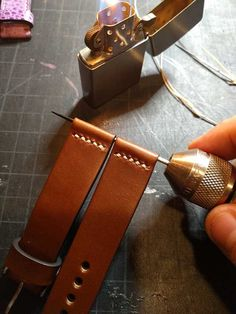 Spring Bar Openings Heated With Awl Stitching Leather, Leather Tooling, Leather Bag, Bracelet Cuir, Leather Projects, Small Leather Goods, Leather Watch Bands, Leather Design, Leather Accessories