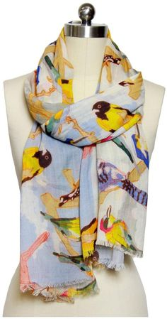 $54, Saachi Flying Birds Scarf Multi Multicolor. Sold by CASA.com. Click for more info: https://lookastic.com/women/shop_items/204070/redirect