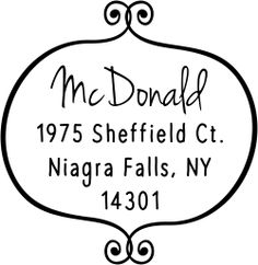 Exquisitely crafted by our teams of dedicated staff and shipped out to you as fast as we can, this McDonald Curly Q Return Address Stamp will add a gorgeous style to all of your outgoing mail.
