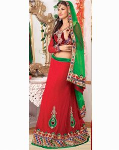 Ethnic Glam Lehenga redgreenholly9501A