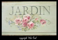 french garden sign on antique door panel, original painting by WitsEnd. sold