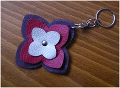 Items similar to Leather Keychain Floral Key Ring Burgundy Red Cream Leather Charm - LOTUS - Handmade Genuine Leather Original Accessories Sale on Etsy