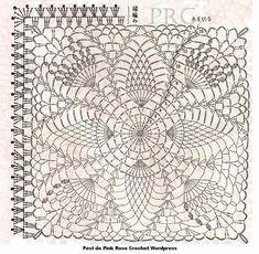 Crochet Bedspread Pattern, Crochet Doily Diagram, Granny Square Crochet Pattern, Crochet Blocks, Crochet Stitches Patterns, Crochet Squares, Thread Crochet, Crochet Motif, Crochet Doilies