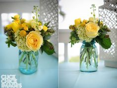 yellow roses in mason jars | Yellow flowers in a blue mason jar add such a pretty touch to wedding ...