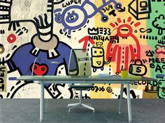 Home Office with Grafitti sprayed on a wall Wall Mural