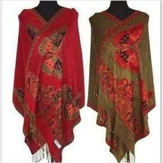 "Pashmina/Swimsuit Coverup Exquisite double sided pashmina in a beautidul red color with orange fringe. Can also be worn as a swimsuit coverup! 180cm x 70cm with 3"" fringe. 55% pashmina 45% silk. ALL COLORS AVAILABLE :) hot pink is also available. Accessories"