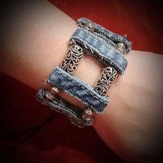 Denim boho bracelet I just added this listing to Poshmark: Handmade Bracelet. Denim Bracelet, Denim Earrings, Fabric Bracelets, Fabric Jewelry, Ankle Bracelets, Bracelets For Men, Beaded Jewelry, Handmade Jewelry, Jewelry Bracelets