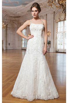 New Style Lace Criss-cross Spaghetti Straps Empire Chapel Train Wedding Dresses - by OKDress UK