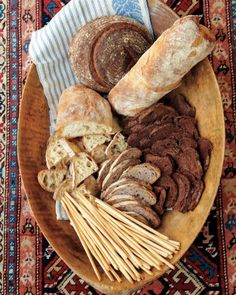 Lovely bread display for cheese platter