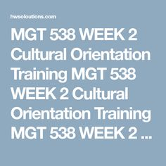 Mgt  Week  Cultural Awareness Plan Part Ii  Training Plan