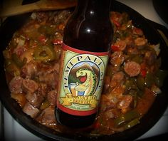 Pale Ale Sausage, Peppers and Onions
