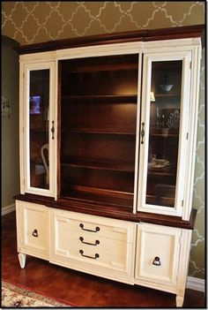paint old china hutch | She painted her china cabinet with Old Ochre Chalk Paint and Minwax ...: