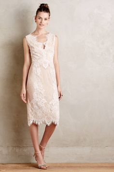 40 White-Hot Cocktail Dresses for All Your Wedding Needs: #32. Sevilla Lace Sheath via Anthropologie ($395)