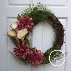 Summer Wreath Fern Wreath Pink Wreath Front Door Wreath