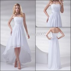 Wholesale 2013 White Strapless Beaded Waist Hi-Low Chiffon 2013 beach wedding dresses XL001, Free shipping, $67.2-84.0/Piece | DHgate