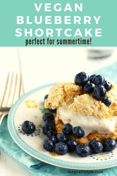 Fluffy dairy free shortcakes are topped with sweet blueberries and vanilla ice cream. This is a perfect dessert for summertime! #shortcake #berry #vegan #dairyfree