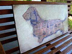 Silhouette - Original Dog Art Painting - Dachshund Wiener Dog Wire Hair- Original Signed -Vintage Newspaper Distressed