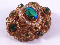 Vintage Rhinestone Filigree Brooch Aurora by VintiqueJools on Etsy, $22.00