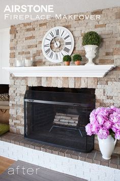 AirStone Fireplace Makeover On A DIY Budget. Diane Henkler  {InMyOwnStyle.com} · Lake House Decorating Ideas