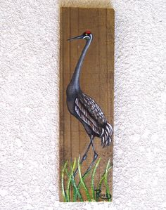 Sand Hill Crane Heron Hand Painted on Reclaimed Fence Board  Wood Plaque by roseartworks on Etsy