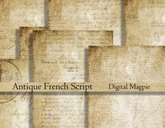 Antique French Script digital paper pack printable scrapbook old paper background grunge aged wrinting instant download  8.5 x 11 by DigitalMagpie on Etsy https://www.etsy.com/listing/242613845/antique-french-script-digital-paper-pack