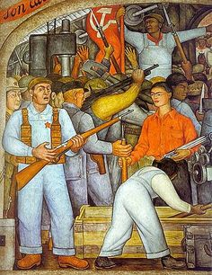 diego rivera / the arsenal - frida kahlo distributes arms (from the cycle: 'political vision of the mexican people')/ 1928 / fresco Diego Rivera Art, Diego Rivera Frida Kahlo, Frida E Diego, Natalie Clifford Barney, Kahlo Paintings, Mexico Art, Political Art, Mexican Artists, Mural Painting